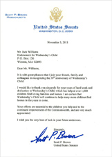 Letter from Senator Scott Brown